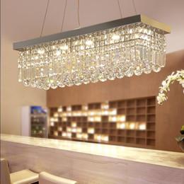 2019 luz de tecto de cristal retangular Restaurante luzes LED 3 Brilho restaurante luzes de cristal luzes retangulares LEVOU lâmpadas de iluminação de teto para casa sala de jantar lustres