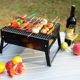 Wholesale portable charcoal bbq - Outdoor Camping Beach BBQ Portable Charcoal Grills Lightweight Folding Household Picnic Rack Stand Family Party NNA81