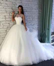 robes de mariée en tulle scintillent Promotion Sparkling Bling Sequins Robes De Mariage De Robe De Bal Avec Sheer Jewel Encolure Sans Manches Custom Made Robes De Mariée Plus La Taille