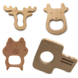 wood toy toddler Promo Codes - Wooden Teether Rings Natural Wood Teething Toys for Infant,Wooden Teether Animals for Toddler,Baby Soothing Pain Relief Toys
