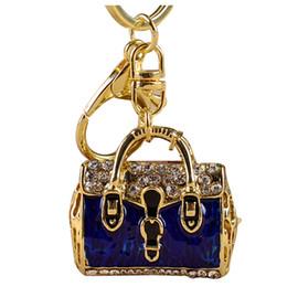 Elegante keychain on-line-Brilhando de cristal elegante pingente chaveiro bolsa acessório moda presente - azul