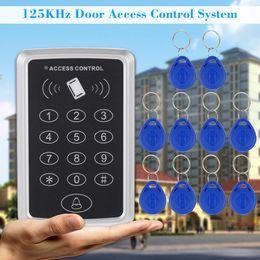 Sistema de cartão de bloqueio da porta rfid on-line-Segurança em casa 125 KHz Único Cartão RFID Proximidade Entry Door Lock Sistema de Controle de Acesso Com 10 pcs Teclas RFID Chave Fob