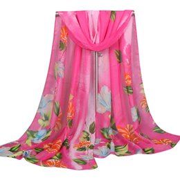Wholesale Embroidered Long Scarves - Spring Fashion Women Long Soft Wrap Scarf Ladies Shawl Chiffon Scarves Peacock embroidered head scarf 2018