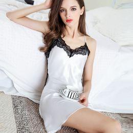 Gonna i fiori di seta online-Hopeforth 2018 Summer Women Silk Nightdress Sexy Underwear Girl Sexy Pajama Flower Lace Skirt Gonna Sexy