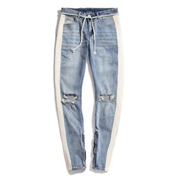 70762110c09 2018 High Quality Retro White strip Side Knee Big Destruction hole old Slim  side zipper men s jeans Europe and America jeans M-2XL