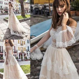 Wholesale Vintage Fairy - Fairy Pinella Passaro 2018 A line Champagne Wedding Dresses With Sleeves Off Shoulder France Lace Princess Church Country Bridal Dresses
