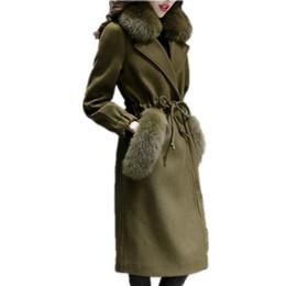 Меховой воротник жакет тонкий талия онлайн-Женские кашемировые пальто Зима искусственного меха лисы воротник шерсть куртка регулируемая талия тонкий женщины длинное пальто длинные шерстяные пальто женский LCY45
