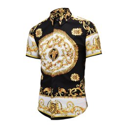 Wholesale medusa shirts - 2018 newest Europe fashion Wave of men 3D Floral Print casual shirt Luxury Harajuku Silk Shirt Long sleeve male Medusa Shirt8