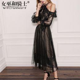 Wholesale Black Lotus Clothing - Spring Summer 2018 New Women's Clothing, Fashion Black Lace Dress, Middle Length Lotus Leaf Edge Big Skirt, Hang Neck Sexy Dress