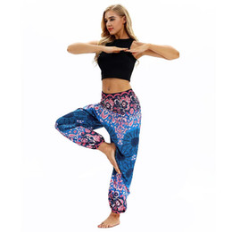 yoga wide leg pant Promo Codes - New women Lantern Yoga Pants Ethnic Wide leg Thailand Elastic Dancing Loose Fit High Waist Beach Trousers Free Shipping