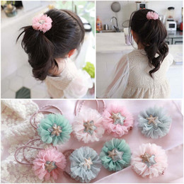 Wholesale tulle hair clip wholesale - Korean Girls Hair rope Fashion Tulle floral kids Hairbands Childrens Barrettes Girl Hair Clips Hairring baby girl hair accessories A1865