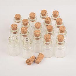 Ремесла маленькие стеклянные бутылки онлайн-Мини Прозрачные Стеклянные Бутылки С Пробкой Маленькие Флаконы Банки Контейнеры Милые Ремесла Бутылки Банки Желая Бутылка 100 шт. Бесплатная Доставка
