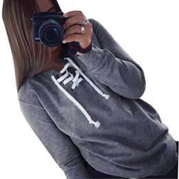 Wholesale Women Loose Grey Sweatshirts - Casual Hoodies Women Fashion Lace Up Hoodies Sweatshirts Female Solid Pullover Hoodies Tracksuit Top Christmas Grey Z30