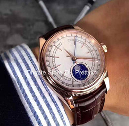 Wholesale Moon Gem - Luxury White Diamond NEW Moonphase Mens Watch Gold Real Leather Strap Sapphire Crystal Fashion Man Automatic Watches