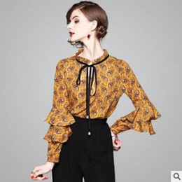 Wholesale Boutique Clothes Women - Boutique women tops shirt New elegant temperament lotus leaf sleeve print top High quality ladies clothing