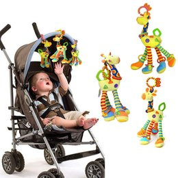 Wholesale Giraffe Teether - Wholesale- New 1Pcs Deer Plush Toys Bed Baby Mobile Hanging Baby Rattle Toy Giraffe With Bell Ring Infant Teether Toys Christmas Gift