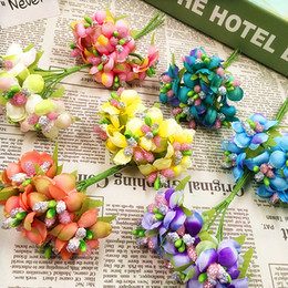 Wholesale Berry Wreaths - 6pcs 3cm Artificial Stamen Bud Berry flower for Wedding Candy Box Decoration Scrapbooking DIY wreaths Fake Flowers