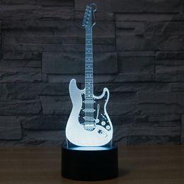 Wholesale Diy Electric Guitar - Creative 3D light electric guitar Model Illusion 3d Lamp LED 7 Color changing USB touch sensor desk light Night Light