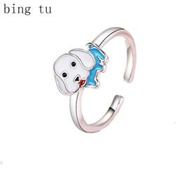 Wholesale jewellery for lovers - Bing Tu Cute Cartoon Animal Blue White Enamel Puppy Dog Adjustable Rings For Women Girls Children Opening Ring Lover Jewellery