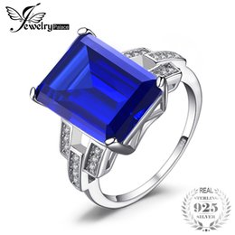 Wholesale Emerald Cut Sterling Silver Ring - wholesale Luxury Emeralds Cut 9.6ct Created Blue Sapphires Cocktail Ring 925 Sterling Silver Vintage Engagement Rings