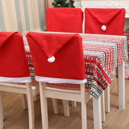 2019 pajarita cubierta de strass Barato rojo no tejido de la silla de Navidad cubierta de la silla de Santa Hat Hat silla de Navidad Hotel Table Cloth Wedding Decoration