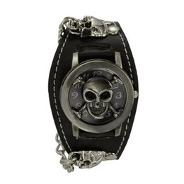 Wholesale Watch Punk - Punk Style Chain Skull Band Gothic Wrist Watch for Men Synthetic Leather Stainless Steel Sport Quartz Watches Bracelet Cuff