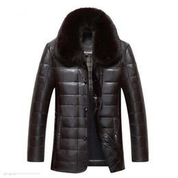 uomini della giacca di pelliccia della pelliccia di volpe Sconti ENWAYEL Winter Luxury Piumino Uomo Giacca in pelle Uomo Giù Cappotto Giacche Top Quality Antivento Caldo collo in pelliccia di volpe EW121