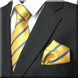 Wholesale Rayon Yarns - Striped Diagonal Microfiber Necktie Wedding Necktie Special Heavy Cotton Wrapped interlining Mens Necktie+Hanky+Cufflink Set Matching Colors