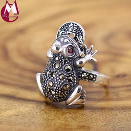 anéis dourados do menino Desconto Anel Para As Mulheres Sorte Sapo Sapo Plutus Moedas Lindo Cristal Vermelho Jóias Vintage Real 925 Sterling Thai Silver Animal Melhores Presentes