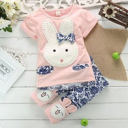 Wholesale Girl Rabbit - Girls Rabbit Clothing Sets 100% Cotton Spring Autumn Baby Girls Outfit Short Sleeve Shirt Pants 6M-4T