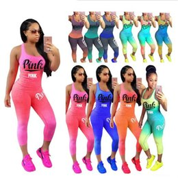 Wholesale women purple vest - women PINK Letter Tracksuit summer Sleeveless t shirt vest tank with pants tights2 piece Outfits gradient color sportswear joggers suit
