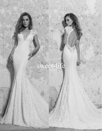 Wholesale Wedding Dress Layered Tulle - 2018 Berta Lace Wedding Dresses Backless Mermaid Beaded Sexy Bridal Dresses Chapel Train Layered Short Sleeves Appliques Wedding Gowns