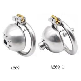 Dispositivo di castità maschile in acciaio inossidabile a gabbia corta super corta con giocattolo di bloccaggio in furtività. Tubo ureterale opzionale A269 da