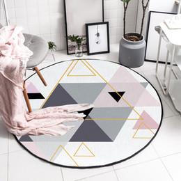 Sofás cinza sala de estar on-line-Moda contratada Nordic cinza rosa tapete redondo de cristal sala de estar quarto tapete sofá macio tapete de chão grosso tapete tapete de salão