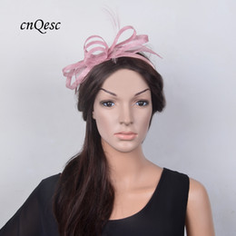 9c0f48221ea NEW elegant BLUSH PINK MAUVE Small Fascinator Sinamay wedding hat for  Kentucky Derby Wedding races party