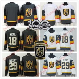 Wholesale Andre White - 2017 Inaugural Season 100th Patch Vegas Golden Knights 18 James Neal 29 Marc-Andre Fleury Blank Gray White Hockey Mens Youth Women Jerseys