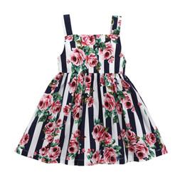 I capretti abbottonano il vestito online-Vestiti delle ragazze del fiore stampato bretelle Estate del cotone 2018 Vestiti Boutique dei bambini Euro America 1-5T bambine abiti floreali senza maniche