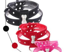 Cane nero collare rosa online-Bling Strass Bone Velvet Leather Pet Puppy Dog Collar Harness Chihuahua Teacup Cura S M L Rosso Nero Hot Pink Spedizione Gratuita