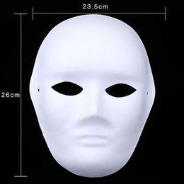 Máscara em branco cara cheia on-line-300 pcs Branco Pintados à Mão Máscaras Máscara Facial Cheia de Halloween Em Branco Papel DIY Mulheres Homens Pulp Mask Presentes da Festa de Natal ZA4618