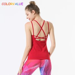 e17436fe4662b Colorvalue Front Mesh Solid Yoga Fitness Vest Women Removable Pads Slim Fit  Sport Dance Tank Tops Back Cross Nylon Workout Vest