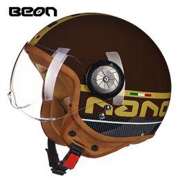 Wholesale helmet motorcycle beon - Motorcycle Vintage Helmet Motorbike Motocross Jet Casco Capacete Open Face 3 4 Half Helmet MOMO Headgear BEON B110 Visor
