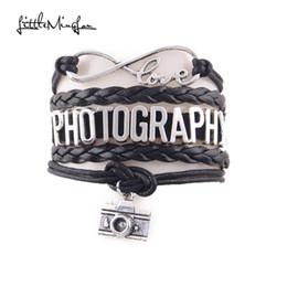 Wholesale food photography - Infinity Love PHOTOGRAPHY bracelet charm leather wrap bracelets & bangles Photographer jewelry gifts