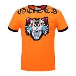Wholesale Men White Tshirts - Embroidery Applique Angry Cat T-shirt Men Stretch Cotton Slim Fit Style Tee Wear Top Fashion Man Tshirts solid color M-3XL JG425