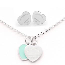 925 herzschmucksachen Rabatt 3 Arten 316L Edelstahl Double Heart Ohrringe Halskette Bitte kehren Sie zu New York 925 Letters Halskette Hochzeit Schmuck-Set für Frauen
