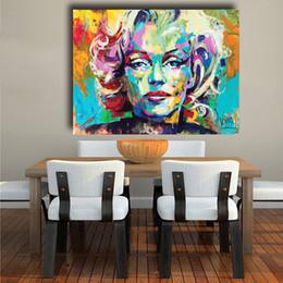 marilyn monroe retrato pintura Rebajas Marilyn Monroe Pintura retrato al óleo abstracta moderna pintura sobre lienzo de cuadros para la sala de estar Decoración No Frame