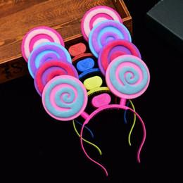 2019 peonia nera artificiale Carino LED lampeggiante lecca-lecca fascia per bambini adulti Light Up Glowing Hairband Headwear Natale Glow per feste