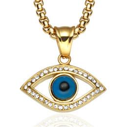 Olhos maus peru on-line-Olho do mal Colar de Pingente de Aço Inoxidável Incrustada de Cristal Turquia Boa Sorte Olho Azul Pingente de 60 cm Cadeia