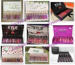 Wholesale Matte Lipgloss - Kylie Jenner lipgloss 12 colors Liquid Matte 12pcs lipstick Fall CollectionTake Me On Vacation birthday pink black box lip gloss