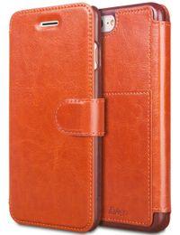 Iphone leder flip case braun online-Für iPhone 6 8 7 Plus Leder Wallet Case mit Karten Slot Metall Magnetisch Slim Fit Heavy Duty PU Flip Case Braun