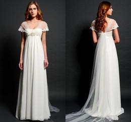 Wholesale Plus Size Pregnant Bride - Vintage Empire Waist Wedding Dresses for Pregnant Women V Neck Illusion Back Elegant Beach Bridal Gowns Lace Applique Bride Dress